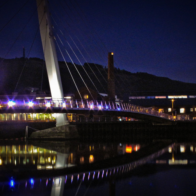 """Bridge over the Tawe"" stock image"