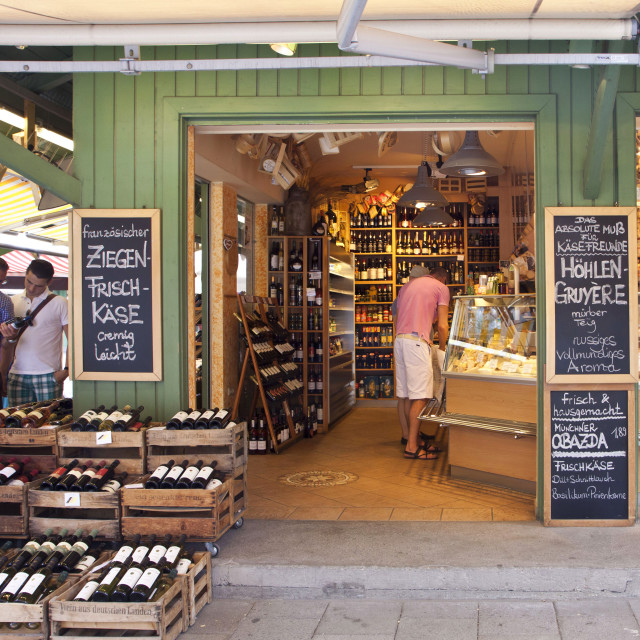 """Wines and delicacy shop at Viktualien Markt in Munich"" stock image"