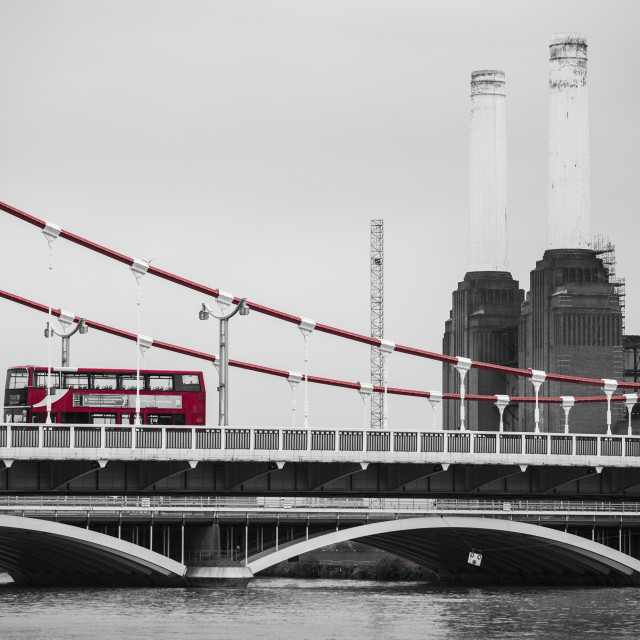 """""""Battersea Power Station and Red Double Decker Bus"""" stock image"""
