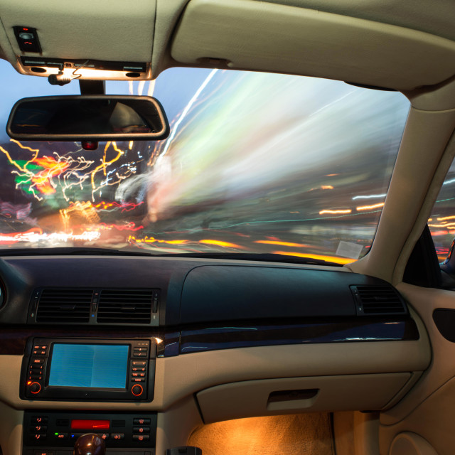 """""""Car interior on driving."""" stock image"""