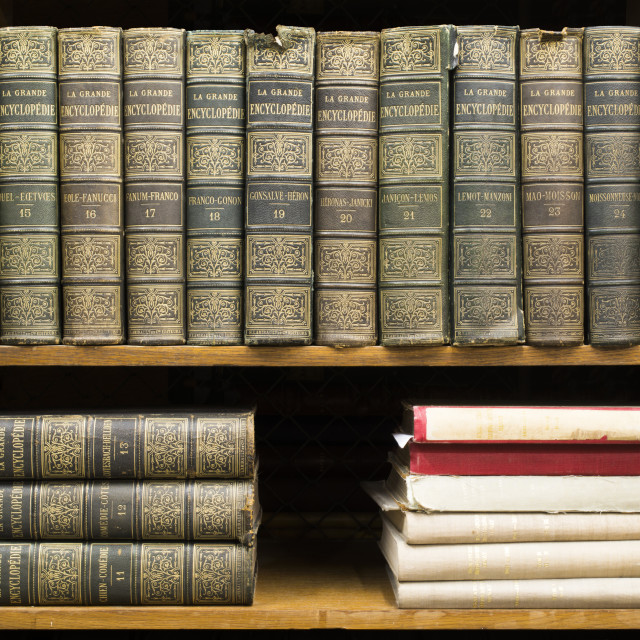 """Old books on shelf"" stock image"