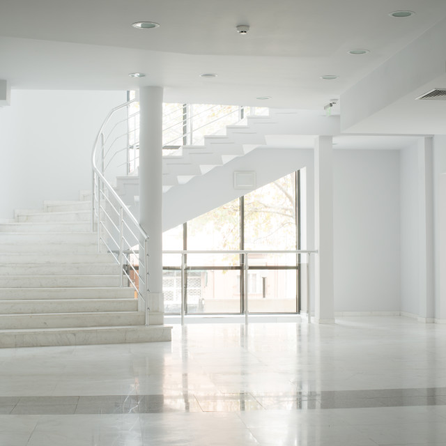 """Interior of a building with white walls"" stock image"