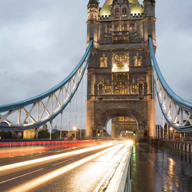 """London Tower bridge on sunset"" stock image"