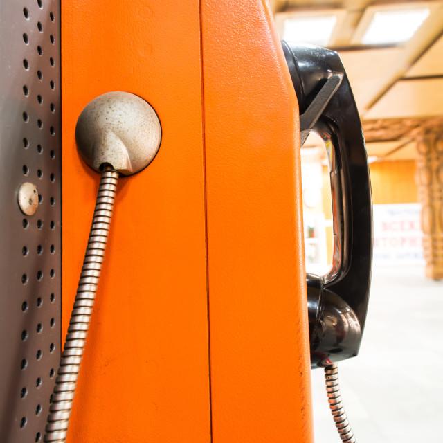 """Close up pay phone"" stock image"