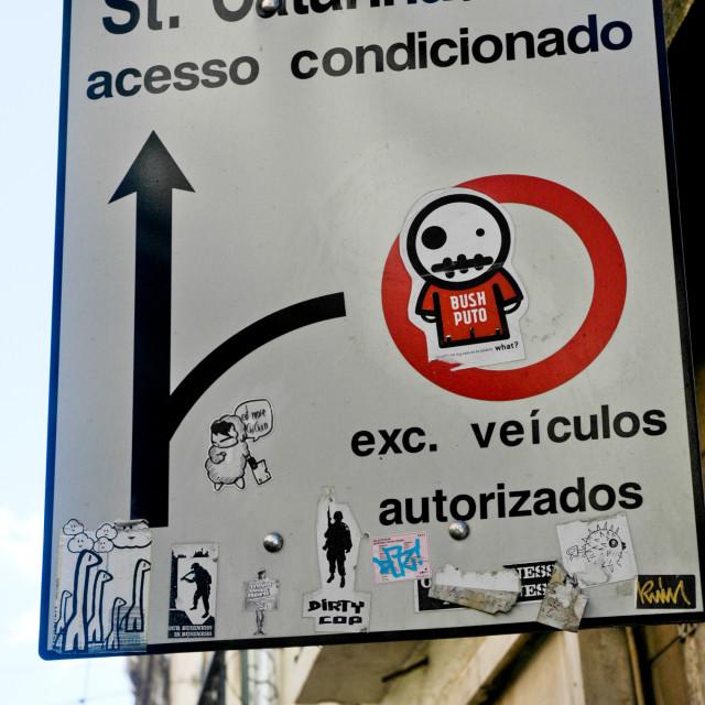 """Lisbon road sign"" stock image"