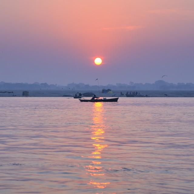 """""""Sunrise on Ganges"""" stock image"""