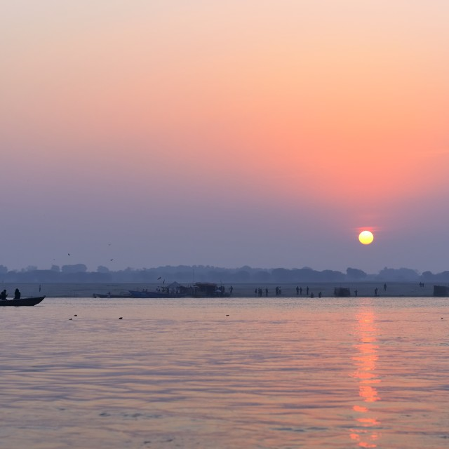 """Sunrise on Varanasi"" stock image"
