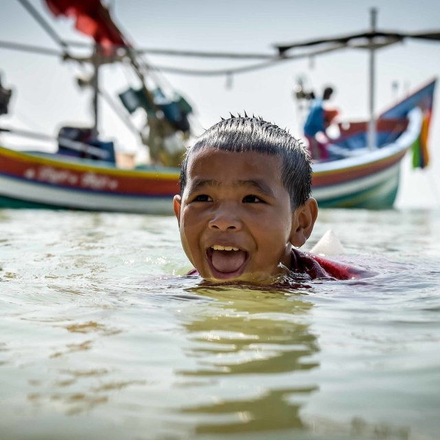"""Swimming Boy"" stock image"