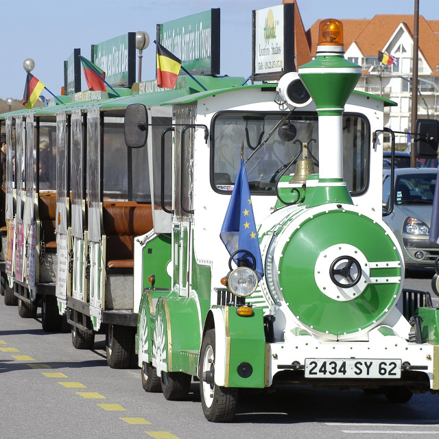 """""""the small tourist train of Touquet"""" stock image"""