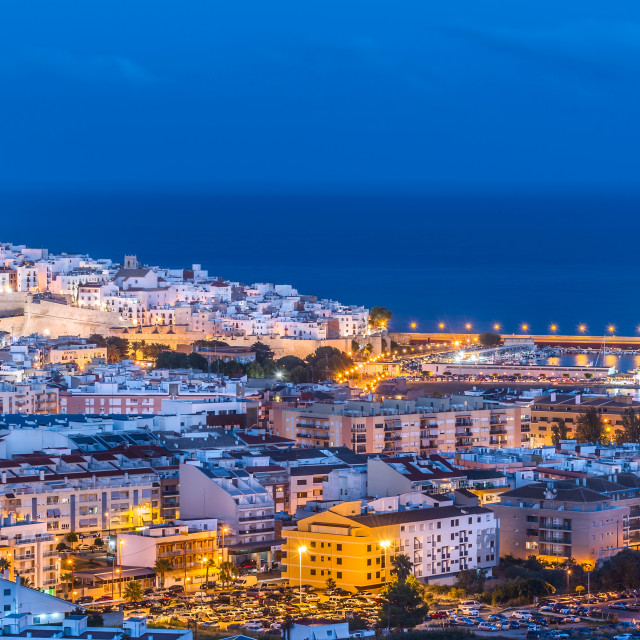 """Panoramic view of Peniscola, Castellon (Spain)"" stock image"