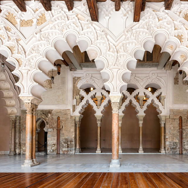 """Arabic arches at Aljaferia Palace in Zaragoza, Spain"" stock image"
