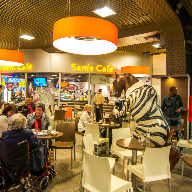 """Cafe At Brussels Midi Station"" stock image"