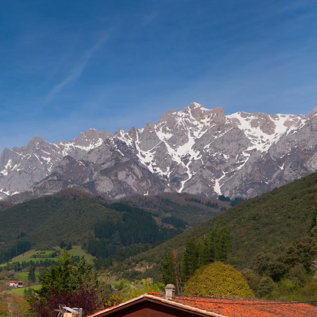 """""""Picos de Europa mountains in Potes, Cantabria, Spain."""" stock image"""