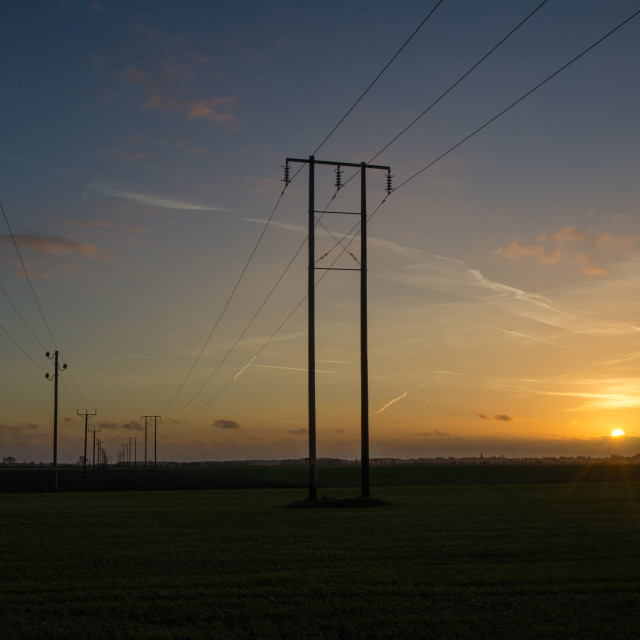 """Power lines rows at sunset"" stock image"