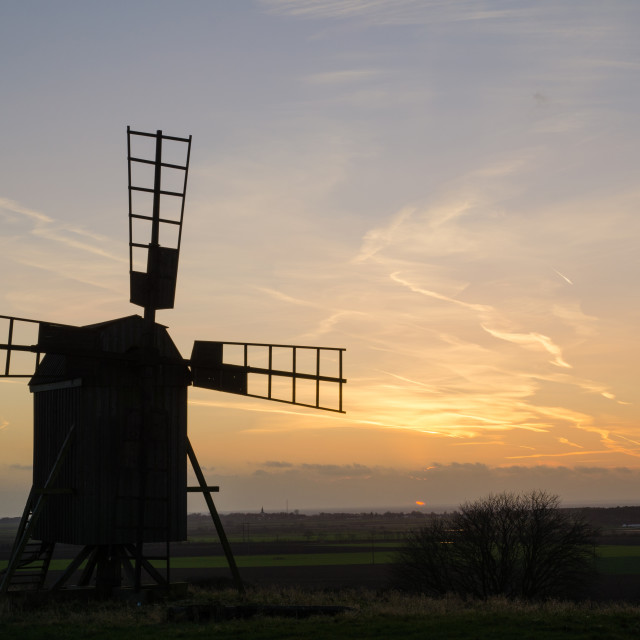 """""""Old windmill at twilight"""" stock image"""