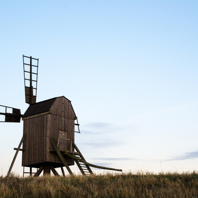 """""""Old wooden windmill"""" stock image"""