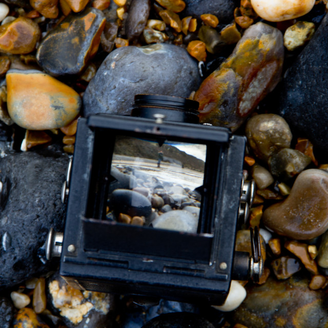 """""""The beach through the viewfinder"""" stock image"""