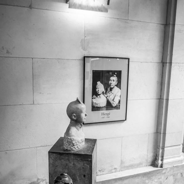 """Tintin Creator Herge Memorial Sculpture & Portrait Brussels Belg"" stock image"