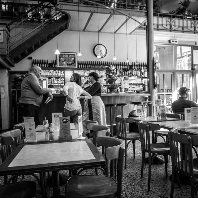 """Cafe Interior Brussels Belgium-B&W"" stock image"
