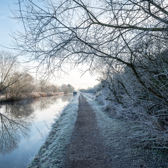 """Frosty Morning On Grand Union Canal"" stock image"