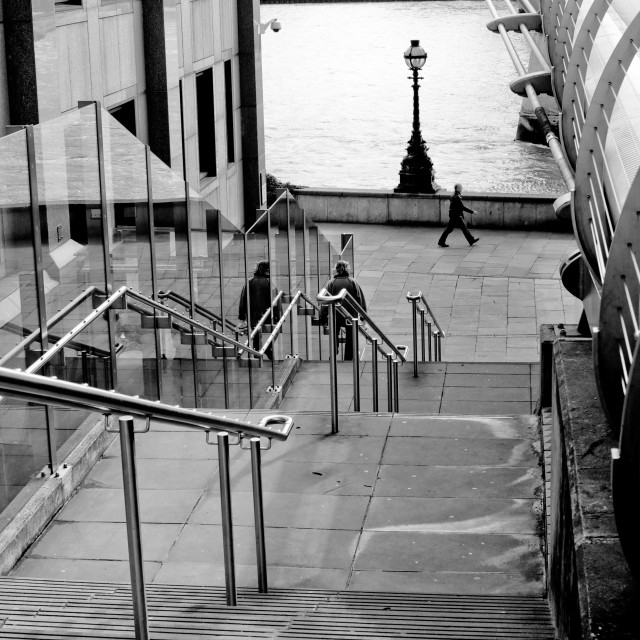 """Steps Down To Thames B&W"" stock image"