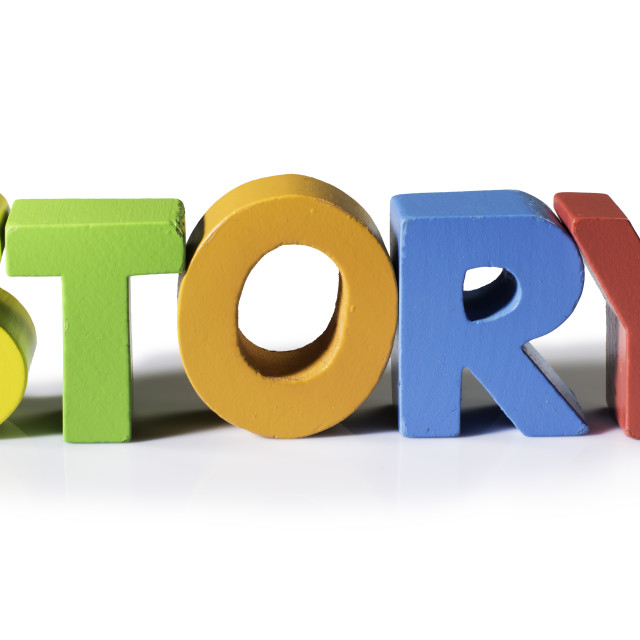 """""""Multicolored word story made of wood."""" stock image"""