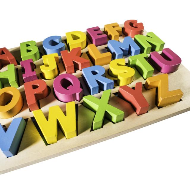 """Latin alphabet multicolored letters"" stock image"