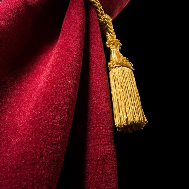 """""""Red velvet curtain with tassel"""" stock image"""