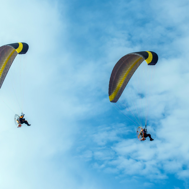 """Paragliding fly on blue sky"" stock image"