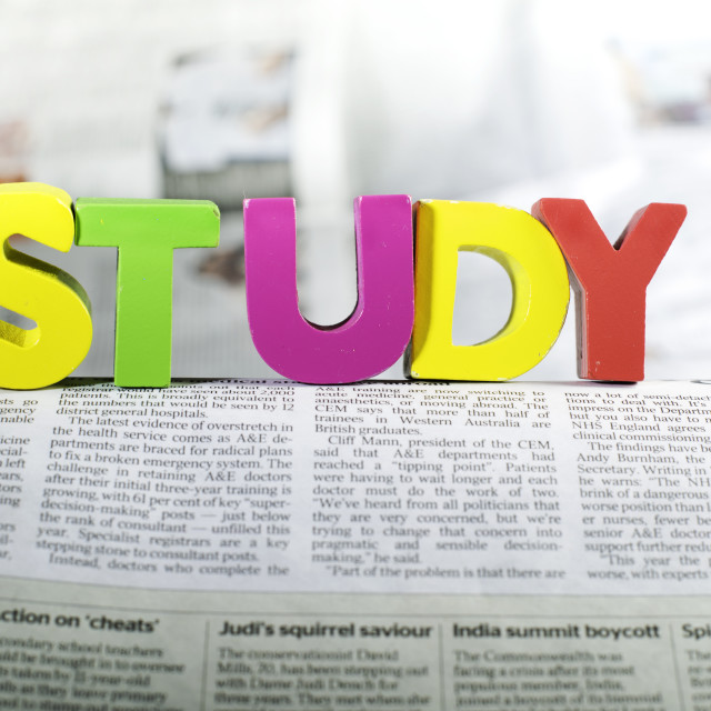 """""""Word study on newspaper page"""" stock image"""