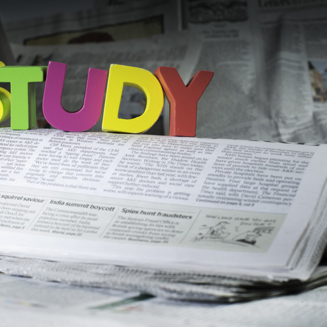 """Word study on newspaper page"" stock image"