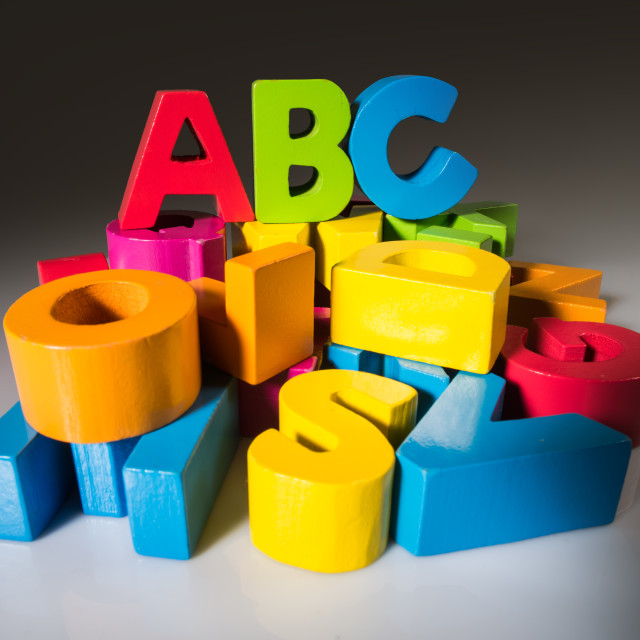 """Letters A B C made of wood."" stock image"
