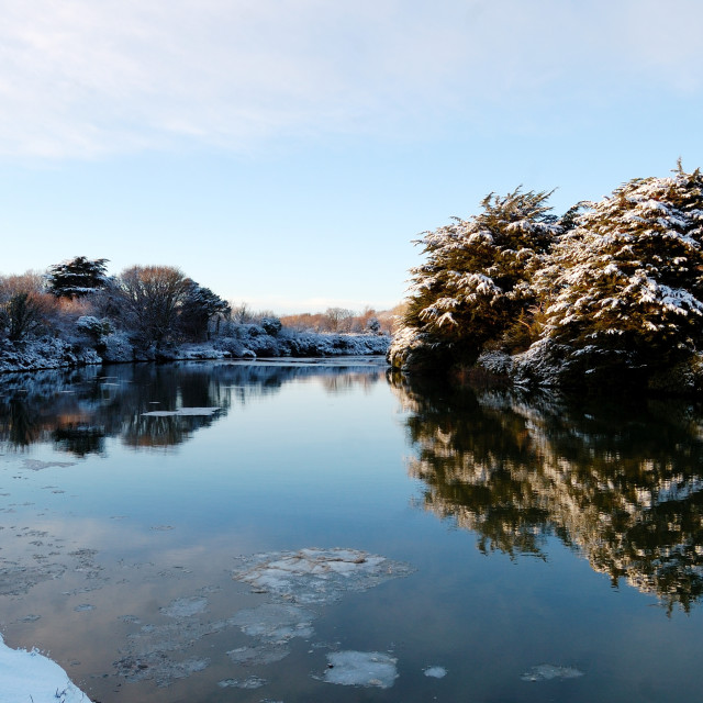 """Winter river reflections"" stock image"