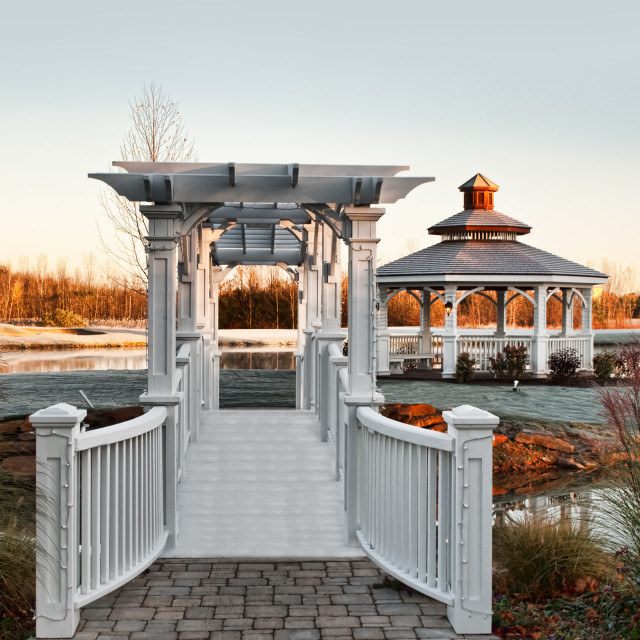 """gazebo and footbridge"" stock image"