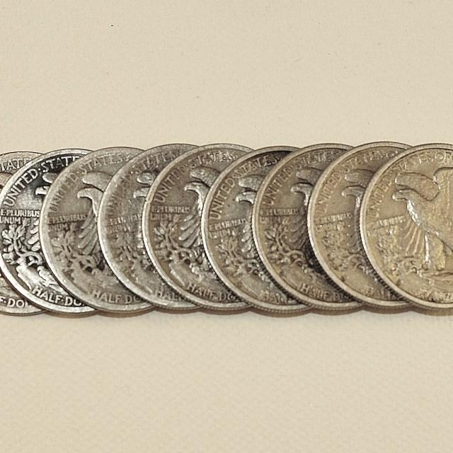 """Silver Half Dollars"" stock image"