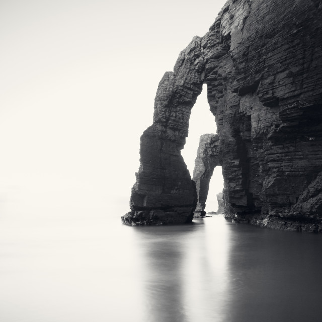 """Beach of Las Catedrales or As Catedrais, Ribadeo, Galicia, Spain"" stock image"
