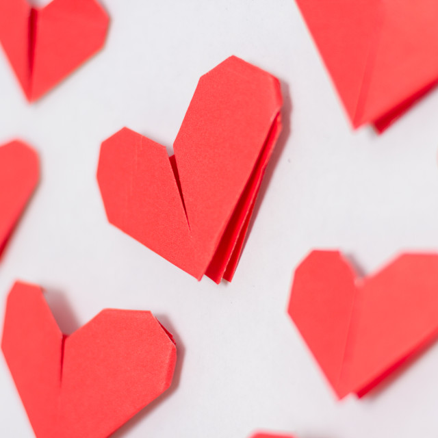 """Origami hearts background"" stock image"