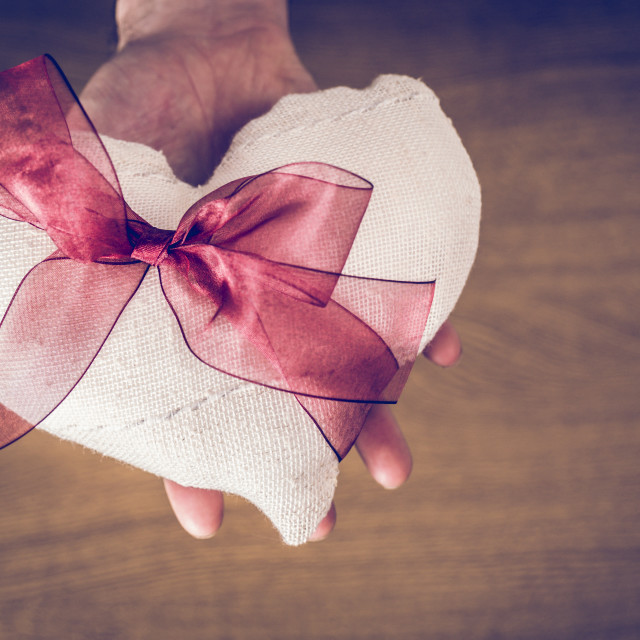 """Hand holding a white fabric heart with a red ribbon"" stock image"