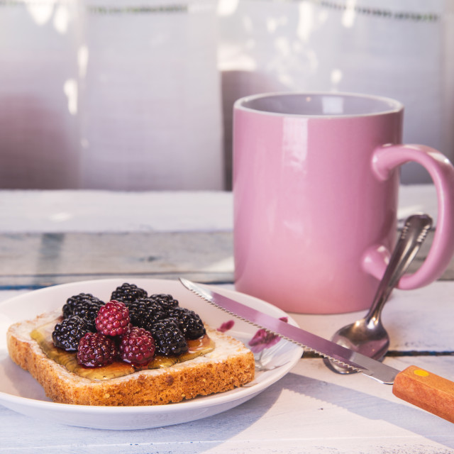 """Toast blackberries"" stock image"