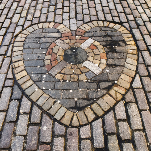 """Heart made of stone pavers"" stock image"