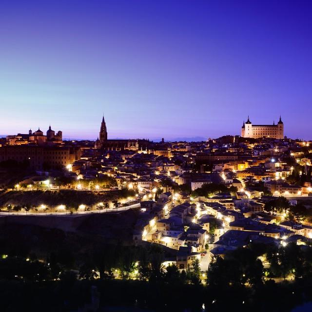 """""""Night view of Toledo city."""" stock image"""