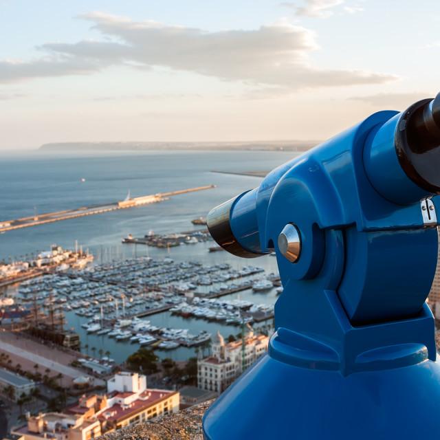 """""""Binoculars telescope overlooking Alicante harbor"""" stock image"""