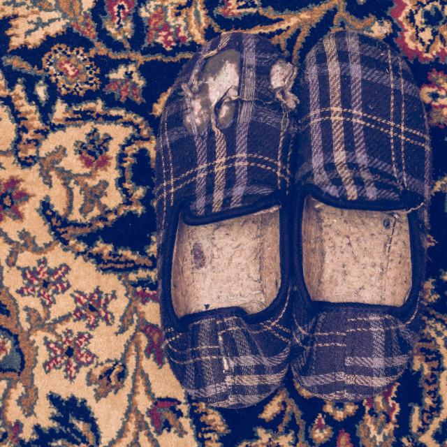 """Broken winter slippers on a carpet"" stock image"