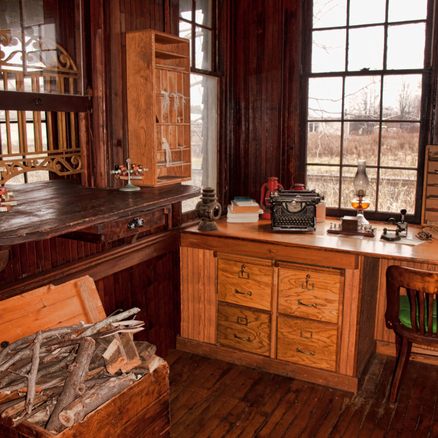 """old railway depot interior"" stock image"
