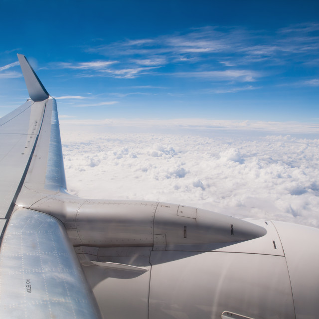 """""""Airplane in flight, wing detail"""" stock image"""