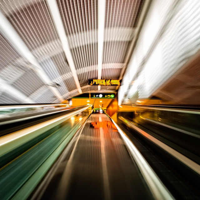 """""""Moving stairs in an airport"""" stock image"""