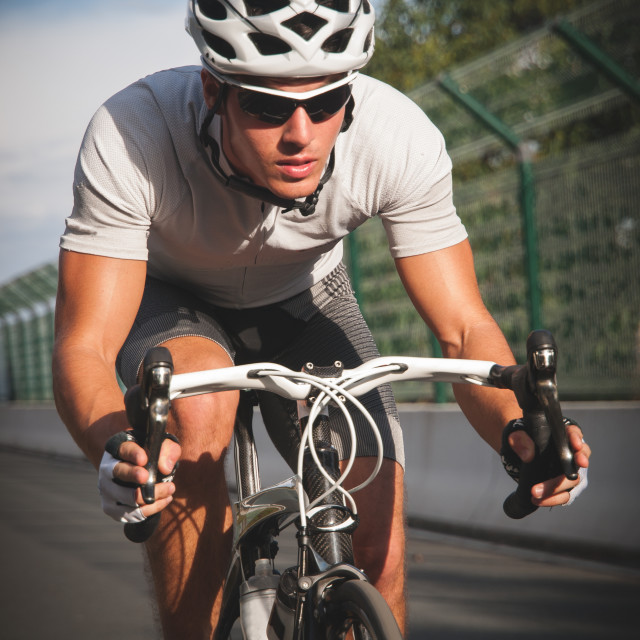 """""""Cyclist portrait in action."""" stock image"""