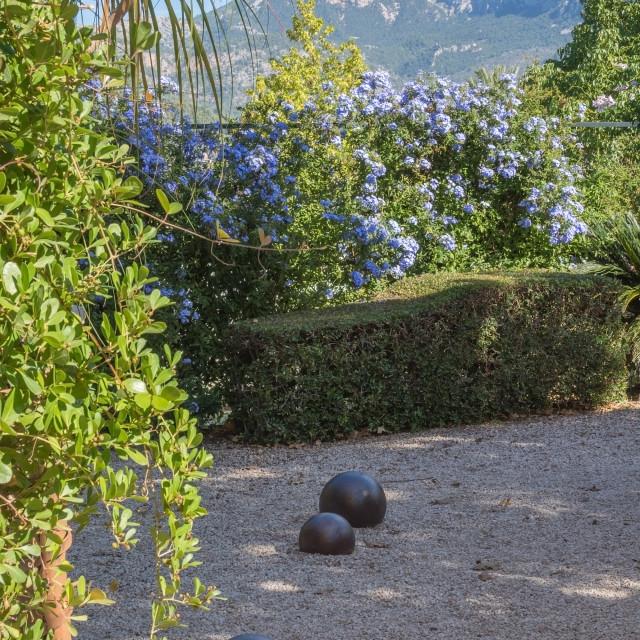 """Garden with iron balls on gravel"" stock image"
