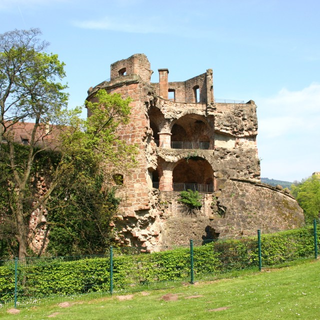"""Ruined tower of Heidelberg Castle"" stock image"