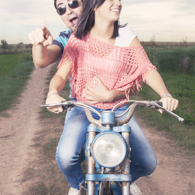 """couple on motorcycle"" stock image"